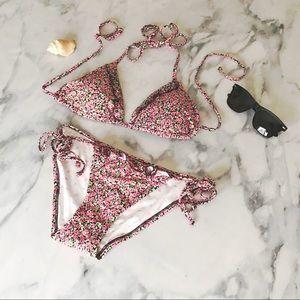 NWOT VS PINK Ruffle Floral Bikini Swimsuit